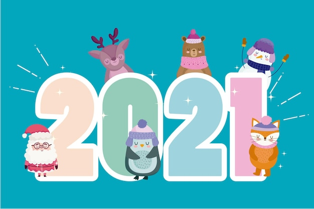 Happy new year 2021 number and santa with cute animals