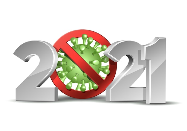 コロナウイルスcovid-19流行停止標識のある新年あけましておめでとうございます2021番号。ウイルスのパンデミックのないホリデーグリーティングカード。デザインテンプレート