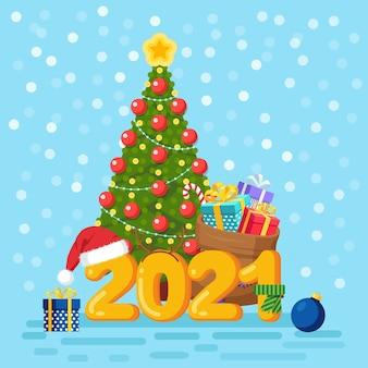 С новым 2021 годом. цифры с елкой. сумка деда мороза, мешок с подарочными коробками