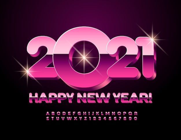 Happy new year 2021. pink font. metallic alphabet letters and numbers