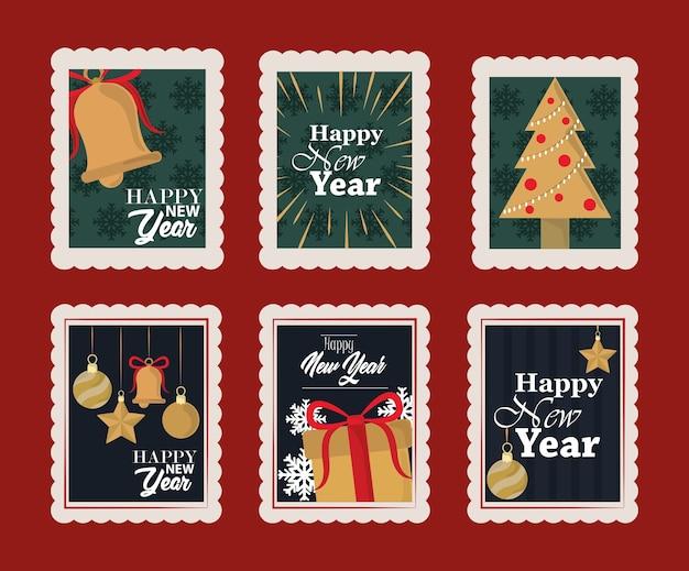 明けましておめでとうございます2021、ベルで設定された切手アイコン