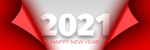 Happy new year 2021 poster. red ribbon with curved edges on white background. sticker. Premium Vector
