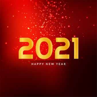 Happy new year 2021 red color sparkle background