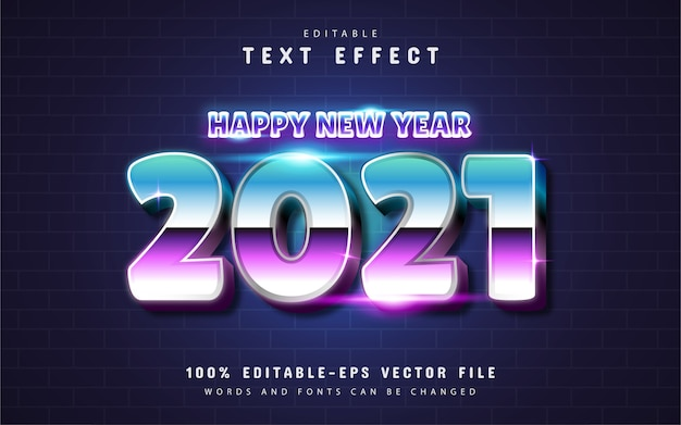 Happy new year 2021 retro style text effect