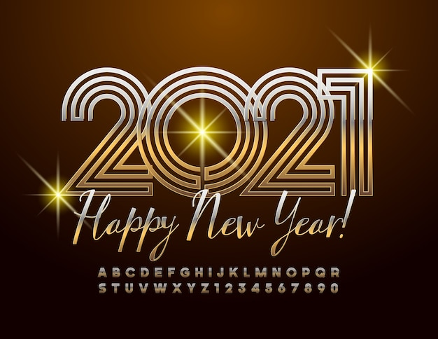 明けましておめでとうございます2021年。光沢のあるフォント。金の迷路アルファベットの文字と数字