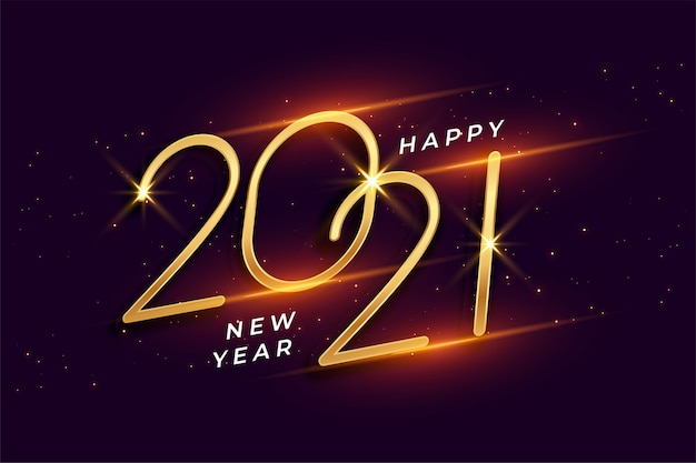 Happy new year 2021 shiny golden background design