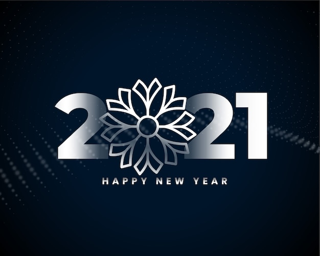 Happy new year 2021 silver background design