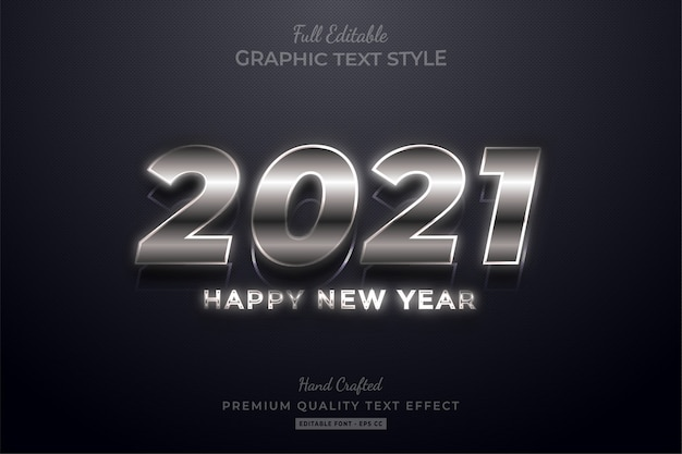 С новым годом 2021 серебряный редактируемый премиум-эффект стиля текста