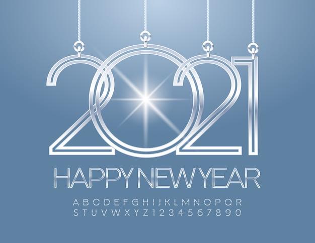 明けましておめでとうございます2021年。シルバーフォント。エレガントなアルファベット文字の広告番号