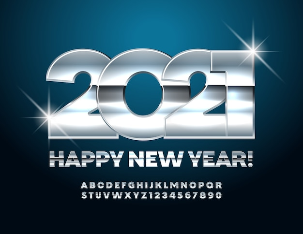 Happy new year 2021. silver font. glossy metallic alphabet letters and numbers