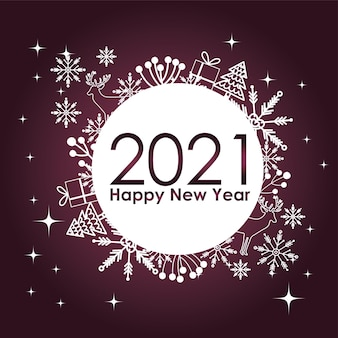 Happy new year 2021 snowflakes gift tree decoration white badge