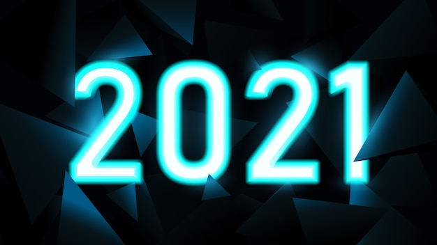 Happy new year. 2021 text in neon light with triangles technology hi-tech futuristic digital background.