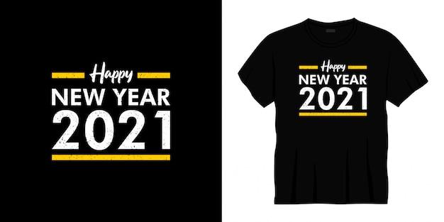 С новым годом 2021 типография дизайн футболки