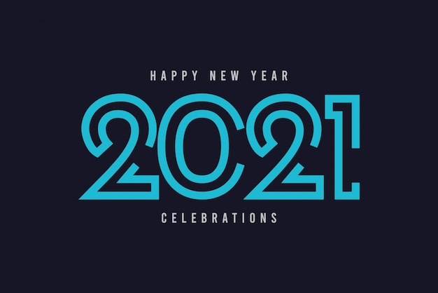 Happy new year 2021 vector template.