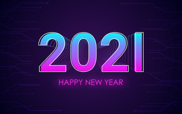 Happy new year 2021 with 3d font effect in neon light color background