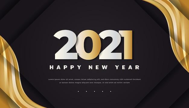 金のフレームと黒の背景に3dゴールドテキストで新年あけましておめでとうございます2021。