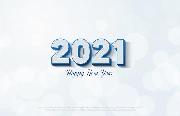 白い背景に3 dの白い数字で新年あけましておめでとうございます2021。