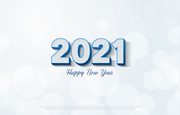 Happy new year 2021 with 3d white numbers on a white background.