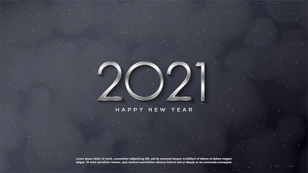 明けましておめでとうございます2021、薄い銀の図のイラスト。