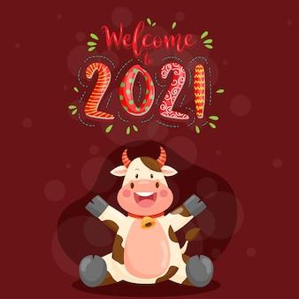 Felice anno nuovo 2021 con carattere di anthurium sorridente