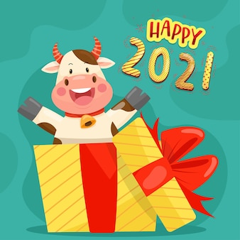 Happy new year 2021 with anthurium character smiling