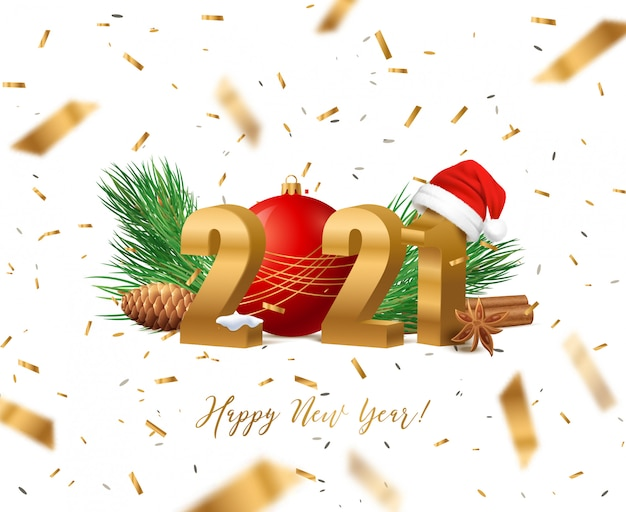 Happy new year 2021 with christmas decoration