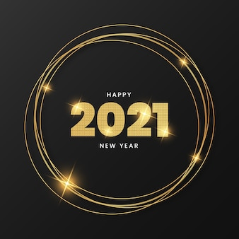 Happy new year 2021 with elegant gold frame