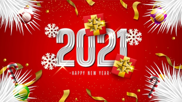 Felice anno nuovo 2021 con scatole regalo, fiocchi di neve e coriandoli