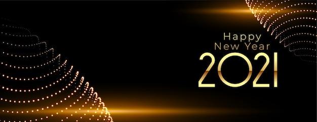 Felice anno nuovo 2021 con luce incandescente sul nero