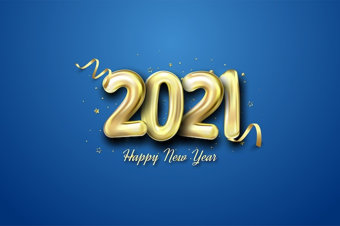 happy new year 2021 with golden balloons
