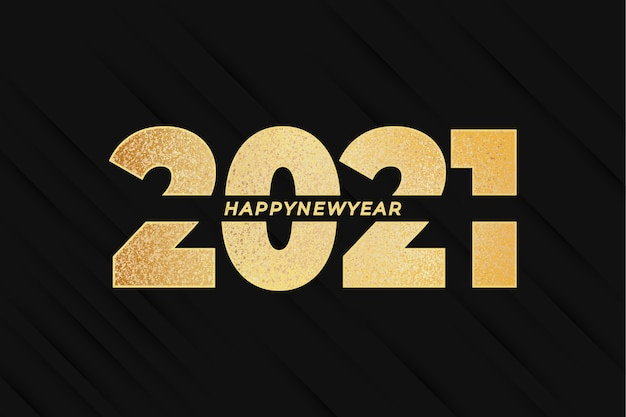Happy new year 2021 with golden effect and abstract