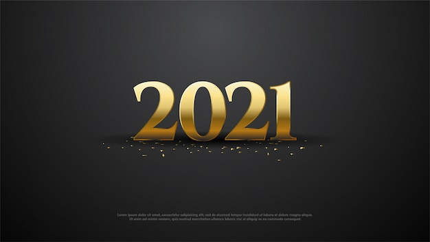 Happy new year 2021 with golden numbers illustration.