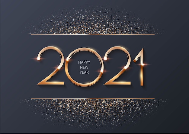 Happy new year 2021 with golden particles