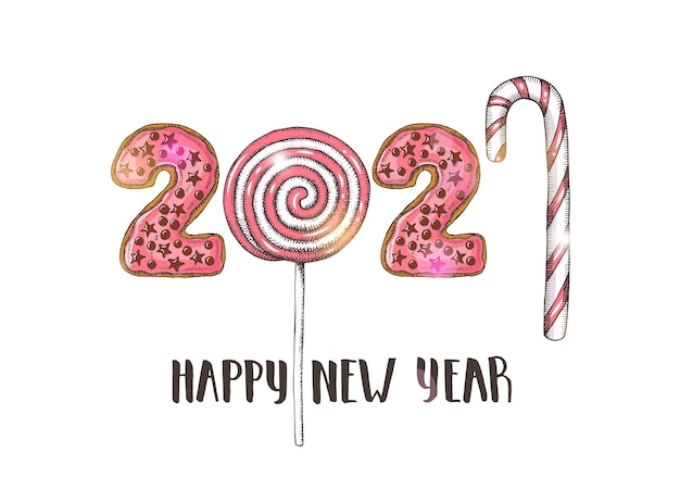 Happy new year 2021 with hand drawn pink  lollipops.