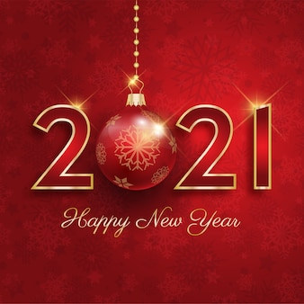 Happy new year 2021 with hanging bauble