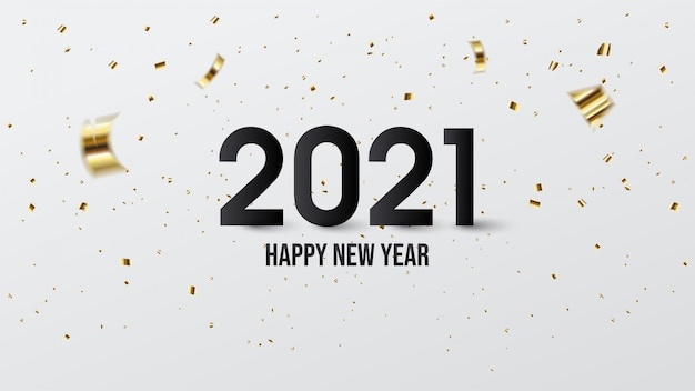Happy new year 2021, with illustrations of black numbers and pieces of gold paper.