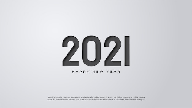 Happy new year 2021, with illustrations of gray figures pressing white paper.