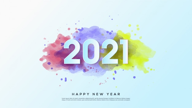 С новым годом 2021, с иллюстрациями белых чисел с акварельными узорами.