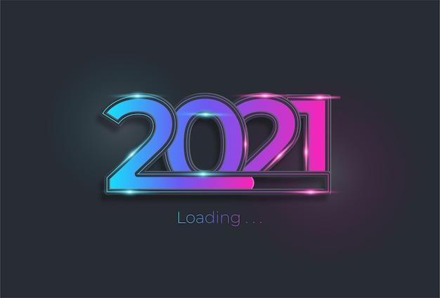 С новым годом 2021 с полосой загрузки в цвете неонового света