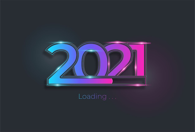 Happy new year 2021 with loading bar in neon light color