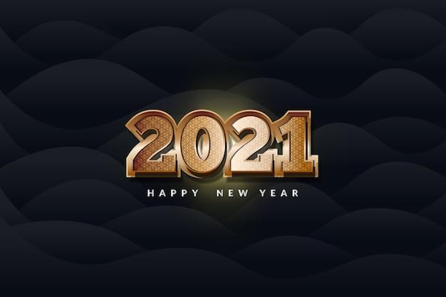 С новым 2021 годом с роскошным золотым текстом