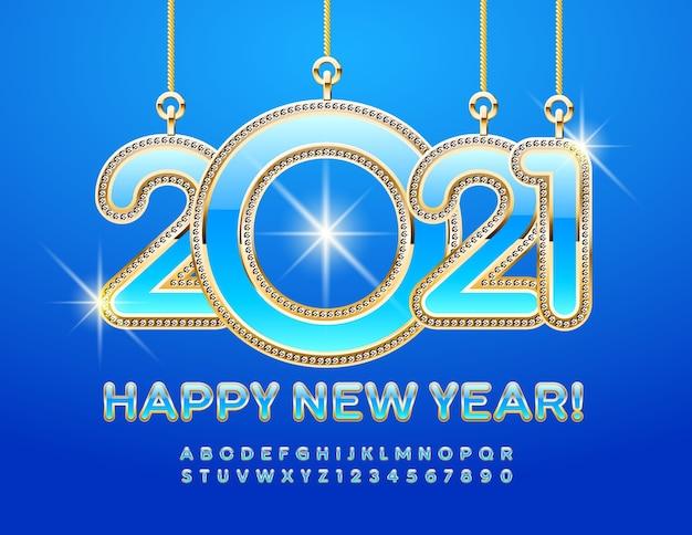 반짝이는 글꼴로 새해 복 많이 받으세요 2021. 알파벳과 숫자를 설정합니다.