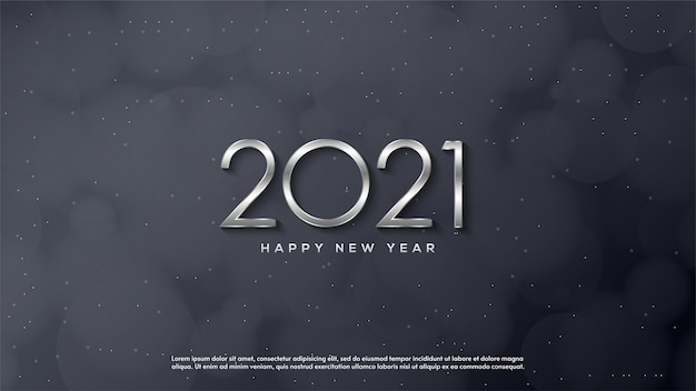 Happy new year 2021, with a thin silver figure illustration.