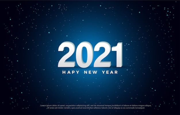 Happy new year 2021 with a white 3d number illustration.