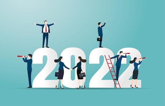明けましておめでとうございます2022年。2022年のビジネス目標の概念図。新しい機会を求めているビジネスチーム。リーダーシップ。ヴィジョン。成果。成功ベクトルデザイン