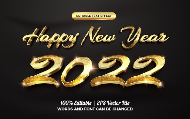 Happy new year 2022 3d gold glitter text style effect template editable