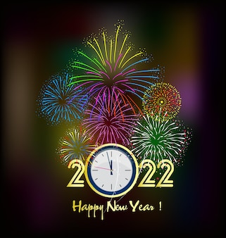 С новым годом 2022 фон. золотые блестящие числа с конфетти и лентами на черном фоне. праздничный дизайн поздравительной открытки.