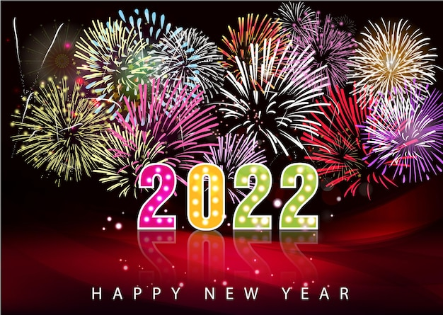 Happy new year 2022 background. golden shiny numbers with confetti and ribbons on black background. holiday greeting card design.