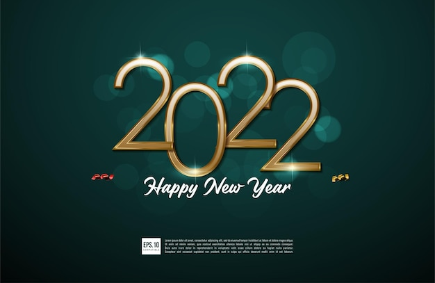 Happy new year 2022 background illustration and gold greeting card