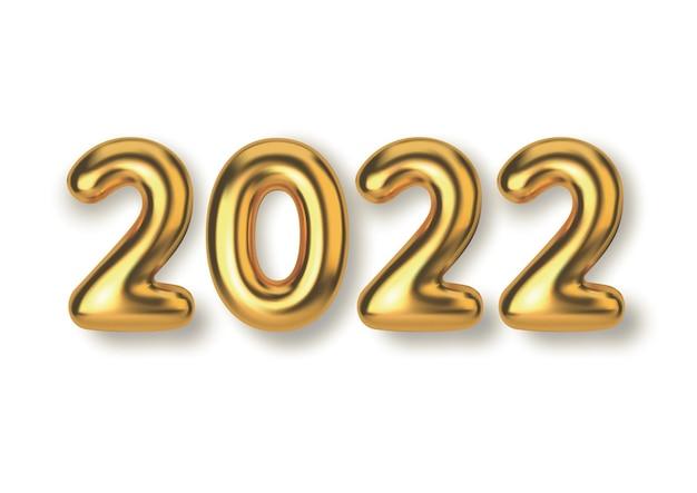 明けましておめでとうございます2022年。背景のリアルな金色のテキストバルーン。製品、広告、webバナー、リーフレット、証明書、はがき用の水平テンプレート。
